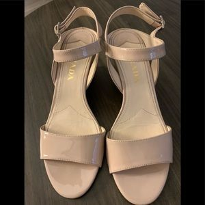 Prada patent leather nude wedges